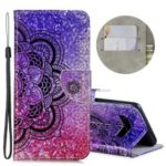 Laser Carving Pattern Printing Wallet Leather Case with Strap for Samsung Galaxy S10 Plus – Flower