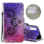 Laser Carving Pattern Printing Wallet Stand Flip Leather Case with Strap for Samsung Galaxy A50 – Flower