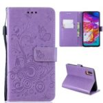 Imprint Butterfly Flower Leather Wallet Case for Samsung Galaxy A70 – Purple
