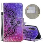 Laser Carving Pattern Printing Wallet Leather Shell with Strap for Samsung Galaxy A7 (2018) A750 – Flower