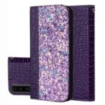 Crocodile Texture Glittery Sequins Splicing Card Slot Stand Leather Case for Samsung Galaxy A70 – Purple