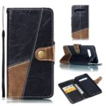 Splicing PU Leather + TPU Stand Wallet Protective Case with Strap for Samsung Galaxy S10 – Black / Light Brown
