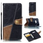 Splicing PU Leather + TPU Stand Wallet Phone Cover with Strap for Samsung Galaxy S10e – Black / Light Brown
