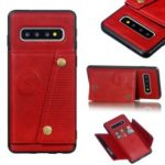 PU Leather Coated TPU Card Holder Mobile Phone Cover [Built-in Vehicle Magnetic Sheet] for Samsung Galaxy S10 – Red