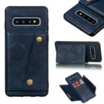 PU Leather Coated TPU Card Holder Mobile Phone Cover [Built-in Vehicle Magnetic Sheet] for Samsung Galaxy S10 – Blue