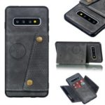 PU Leather Coated TPU Card Holder Mobile Phone Cover [Built-in Vehicle Magnetic Sheet] for Samsung Galaxy S10 – Grey