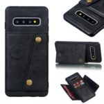 PU Leather Coated TPU Card Holder Mobile Phone Cover [Built-in Vehicle Magnetic Sheet] for Samsung Galaxy S10 – Black