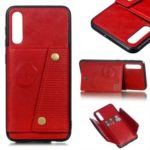Leather Card Holder Magnetic Car Phone Holder Case for Samsung Galaxy A50 – Red