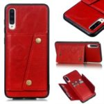 PU Leather Coated TPU Card Holder Magnetic Kickstand Phone Case for Samsung Galaxy A70 –  Red