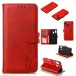 Imprinted Cat Pattern Leather Wallet Cover for Samsung Galaxy A20 / A30 – Red