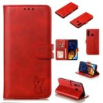 Imprinted Cat Pattern Leather Wallet Phone Cover for Samsung Galaxy A60 – Red