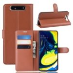 Litchi Skin Wallet Leather Stand Case for Samsung Galaxy A80/A90 – Brown