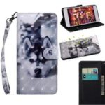 Pattern Printing [Light Spot Decor] Leather Wallet Phone Shell for Samsung Galaxy A10e – Black and White Wolf
