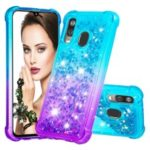 Anti-fall Gradient Glitter Powder Quicksand TPU Case for Samsung Galaxy A40 – Cyan / Purple