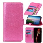 Glittery Powder Wallet Stand Flip Leather Phone Cover for Samsung Galaxy A30 – Pink