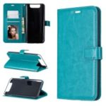 Litchi Skin Wallet Leather Stand Casing for Samsung Galaxy A80 – Sky Blue
