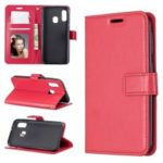 Litchi Skin Wallet Leather Stand Phone Shell for Samsung Galaxy A20e – Red