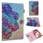 Pattern Printing Glitter Sequins Leather Wallet Case for Samsung Galaxy Tab A 10.5 (2018) T590 T595 – Mandala Flower
