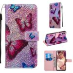 Pattern Printing Glitter Sequins Leather Wallet Case for Samsung Galaxy M40 / A60 – Butterfly