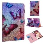 Pattern Printing Glitter Sequins Leather Wallet Casing for Samsung Galaxy Tab A 10.1 (2019) T510/T515 – Butterfly