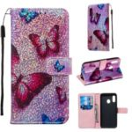 Pattern Printing Glitter Sequins Leather Wallet Phone Case Cover for Samsung Galaxy A20e/Galaxy A10e – Butterfly