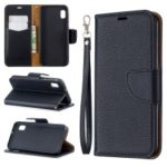 Litchi Texture Leather Wallet Stand Case for Samsung Galaxy A10e – Black
