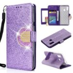 Glitter Powder Rhinestone Decoration Leather Wallet Case with Mirror for Samsung Galaxy A20e – Purple