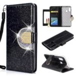 Glitter Powder Leather Wallet Phone Case with Mirror for Samsung Galaxy A40 – Black