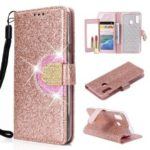 Glitter Powder Leather Wallet Phone Case with Mirror for Samsung Galaxy A40 – Rose Gold