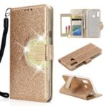 Glitter Powder Leather Wallet Phone Case with Mirror for Samsung Galaxy A40 – Gold