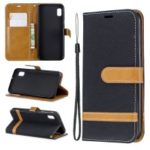 Assorted Color Jeans Cloth Wallet Stand Leather Case for Samsung Galaxy A10e – Black