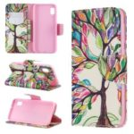 Printing Style PU Leather Flip Stand Phone Case for Samsung Galaxy A20e / A10e – Colorized Tree