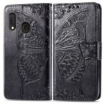 Imprint Butterfly Flower Leather Wallet Case for Samsung Galaxy A20e – Black