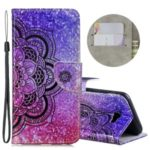 Laser Carving Pattern Printing Wallet Leather Phone Case with Strap for Samsung Galaxy J4+/J4 Plus – Flower