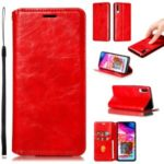 Creazy Horse Texture Leather Strong Magnetic Suction Casing for Samsung Galaxy A70 – Red