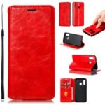 Creazy Horse Texture PU Leather Strong Magnetic Suction Case for Samsung Galaxy A40 – Red