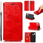 Creazy Horse Texture Leather Strong Magnetic Suction Shell for Samsung Galaxy A20e – Red