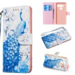 Light Spot Decor Patterned Leather Wallet Case for LG G8s ThinQ / G8 ThinQ – Peacock
