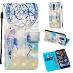 3D Painting Pattern Leather Phone Shell for LG K40/K12+/K12 Plus – Blue Dream Catcher