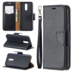 Litchi Texture PU Leather Phone Cover for LG K40 / K12 Plus – Black
