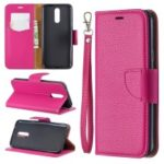 Litchi Texture PU Leather Phone Cover for LG K40 / K12 Plus – Rose