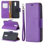 Litchi Texture PU Leather Phone Cover for LG K40 / K12 Plus – Purple