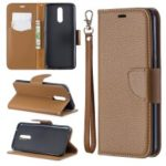 Litchi Texture PU Leather Phone Cover for LG K40 / K12 Plus – Brown