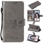 Imprinted Flower Owl Leather Wallet Phone Case for Huawei P30 Lite – Grey