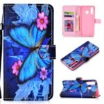 Pattern Printing Wallet Stand Leather Protective Case with Strap for Huawei P Smart+ 2019 / Enjoy 9s – Blue Butterflies