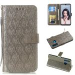 Imprint Rattan Flower Pattern Wallet Flip Leather Phone Cover with Strap for Huawei P30 Lite / Huawei Nova 4e – Grey