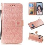 Imprint Rattan Flower Pattern Wallet Flip Leather Phone Cover with Strap for Huawei P30 Lite / Huawei Nova 4e – Rose Gold
