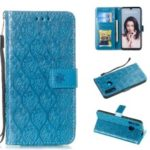 Imprint Rattan Flower Pattern Wallet Flip Leather Phone Cover with Strap for Huawei P30 Lite / Huawei Nova 4e – Baby Blue