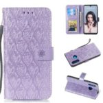Imprint Rattan Flower Pattern Wallet Flip Leather Phone Cover with Strap for Huawei P30 Lite / Huawei Nova 4e – Purple