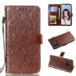 Imprint Rattan Flower Pattern Wallet Flip Leather Phone Cover with Strap for Huawei P30 Lite / Huawei Nova 4e – Brown